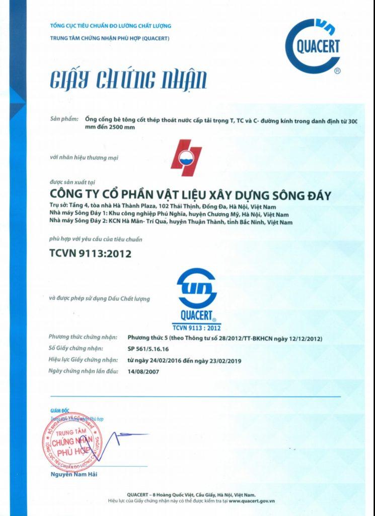 Giấy chứng nhận cống tròn phù hợp tiêu chuẩn 9113-2012